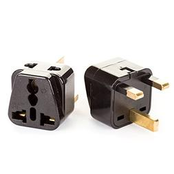 OREI 2 in 1 USA to UK/Hong Kong Adapter Plug  - 2 Pack, Blac