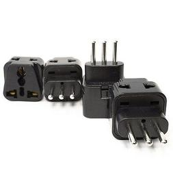 OREI 2 in 1 USA to Israel Travel Adapter Plug  - 4 Pack, Bla