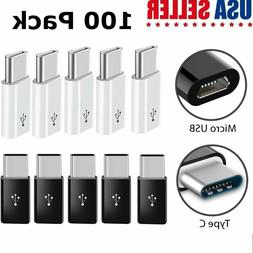 100 Pack USB-C Type C Male to Micro USB Female Adapter Conve