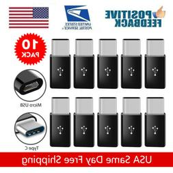 10Pcs Micro USB to USB 3.1 Type-C Data Adapter Converter For