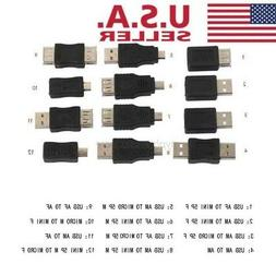 12 Types USB 2.0 to Micro USB Changer Data Adapter Converter