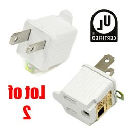 2 Lot | 3 to 2 Prong UL Certified Adapter AC Outlet Ground C