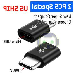 2 Pack Micro USB to Type C Adapter Converter Micro-B to USB-