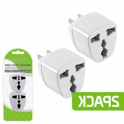 2 Universal To US Plug AC Power Adapter Travel Outlet Conver