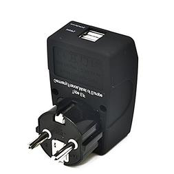 Ceptics 2 USB Schuko Travel Adapter 4 in 1 Power Plug Type E