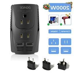 DOACE  2000w Travel Power Converter and Adapter 2 USB Ports,