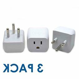 3-PACK European Travel Plug Adapter Electrical Power Wall Co