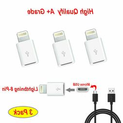 3 X Android Micro USB to 8 pin iphone Lightning Adapter Cabl