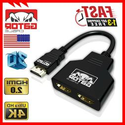 4K HDMI Cable Splitter Adapter 2.0 Converter 1 In 2 Out HDMI