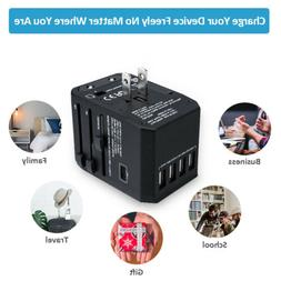 4USB + Type-C Universal Travel Adapter AC Power Plug Convert