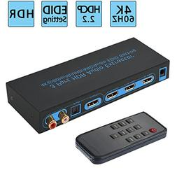 4K@60Hz HDMI Switch 3x1 with Optical SPDIF & RCA L/R Audio O