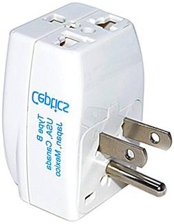 Ceptics 3 Outlet Travel Adapter Plug Type B for USA, Japan