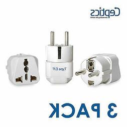 Ceptics Grounded Universal Plug Adapter for Europe, Germany,