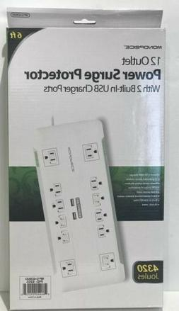 Monoprice 12 Outlet Surge Protector Power Strip With 2 Built