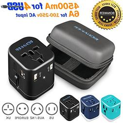 Travel Adapter 4.5A 4 USB Charging Worldwide All in One Univ