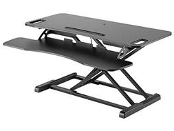 Monoprice Height Adjustable Gas Spring Sit Stand Riser Desk