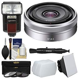 Sony Alpha E-Mount E 16mm f/2.8 Lens with Flash + Soft Box +