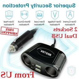 Car Charger 2 Socket Cigarette Lighter Dual USB Chargers iPh