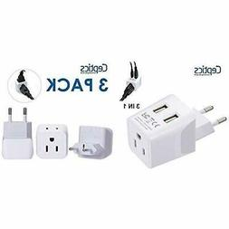 Ceptics USA to Most of Europe Travel Adapter Plug With Dual