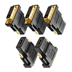 DVI to HDMI Adapter, CableCreation 5-Pack Bi-Directional DVI