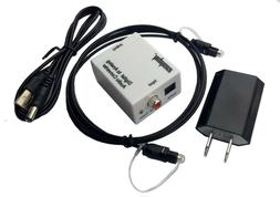 With Fiber Cable Digital Optical Coax to Analog RCA L//R Audio Converter Adapter