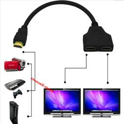 HDMI Port Male to Female 1 Input 2 Output Splitter Cable Ada