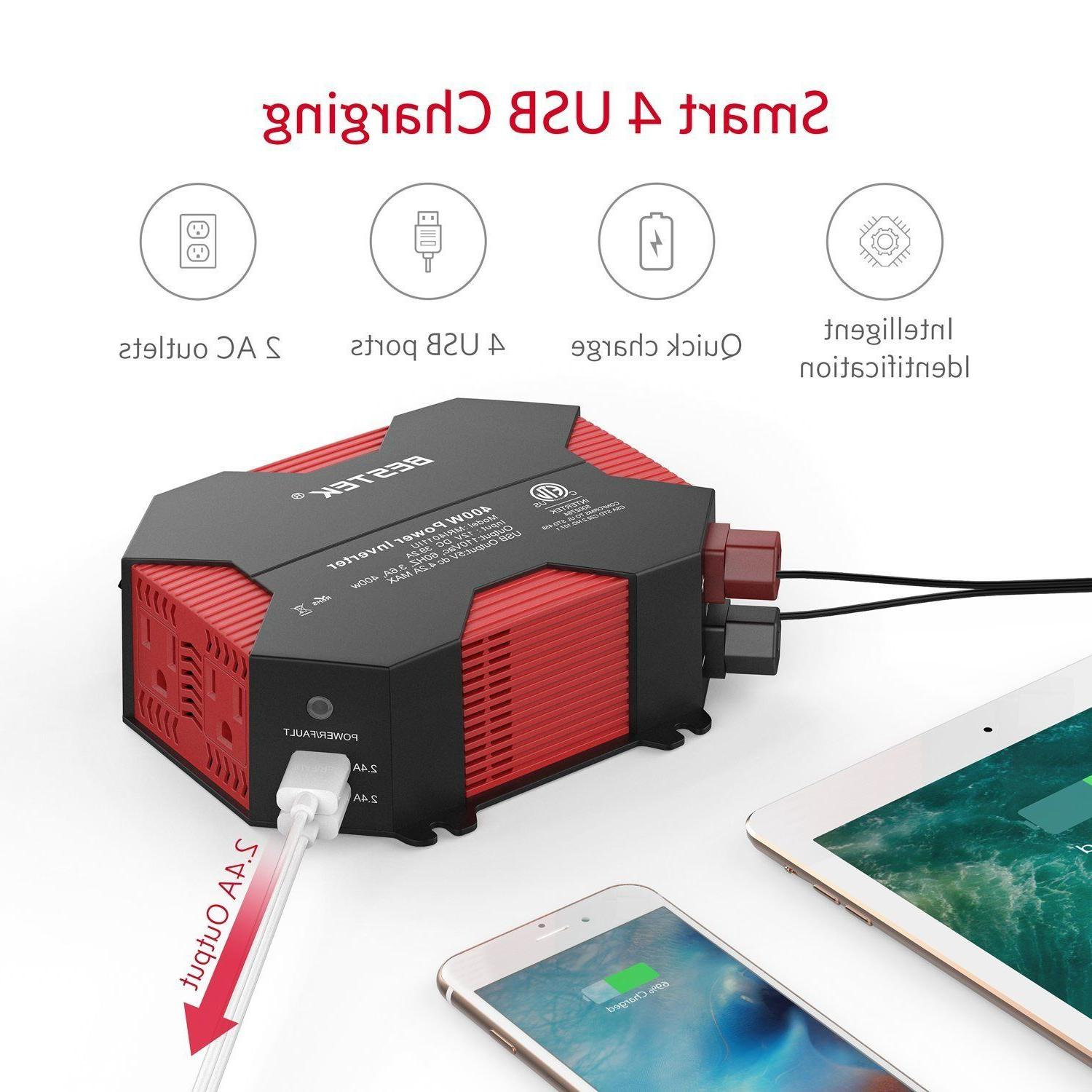 BESTEK Inverter 12V 110V 4 USB Charger