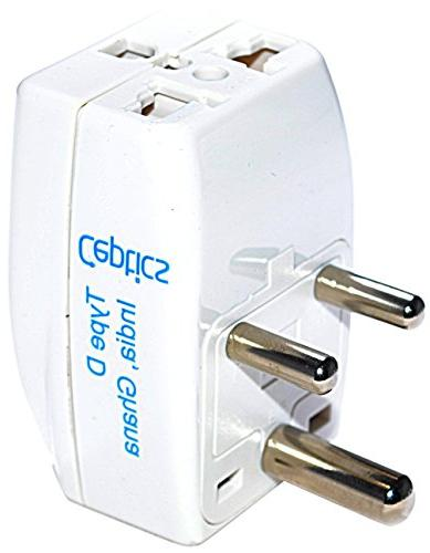 Ceptics 3 Outlet Travel Adapter Plug Type D for India, Afric