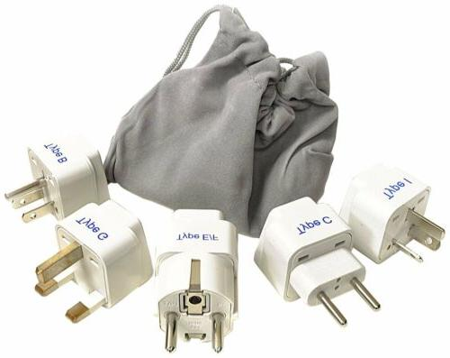 Ceptics Adapter Plug Set for World Wide International Travel
