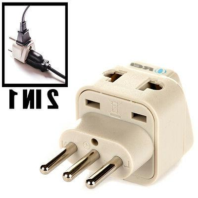 OREI Grounded Universal 2 in 1 Plug Adapter Type L for Italy