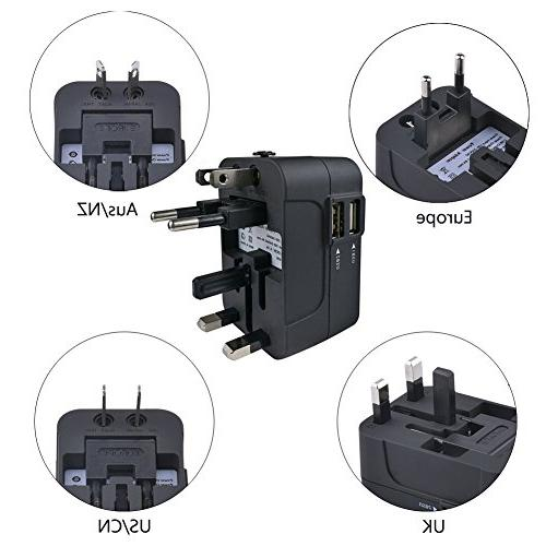 Travel JMcolo All in Power Adapter USB Wall Charger AC Adapter Charging for EU UK Cell phone