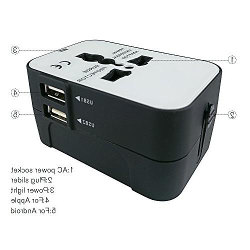 Travel Adapter, in One International Power Wall Plug Adapter Dual Charging for EU UK phone laptop