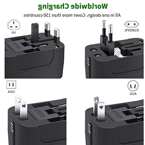 Travel Adapter, in Universal Adaptor Plug Adapter with Dual Charging Ports EU UK AUS Laptop