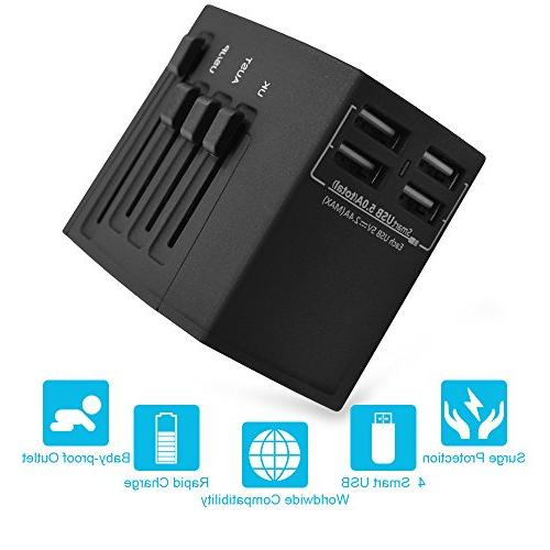 Travel Adapter, 2000W International Power Adapter, All in One Universal Power Adapter with USB 3.0 Ports, Over 150 Countries