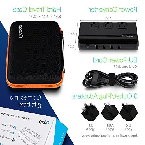 Odoga Converter to with USB 3 AC UK/Europe/AUS International Travel 150 Countries, Protective Case