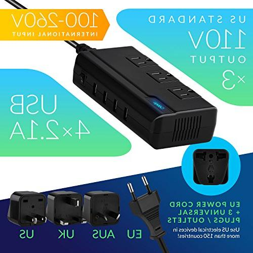Odoga Converter to with 4 Ports 3 AC and UK/Europe/AUS Travel Suitable 150 Countries, Case
