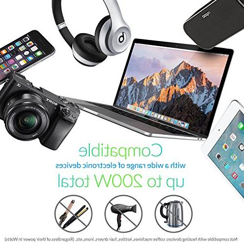 to with Ports 3 Outlets and UK/Europe/AUS Suitable for More 150 Countries, Black Case