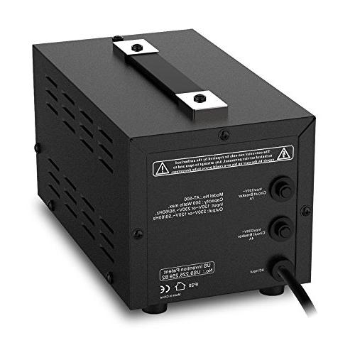 SEYAS 500W Up & Voltage Transformer , 110-120 to 220-240 Soft Load, 7x24hrs Circuit Breaker U.S. Patent No.