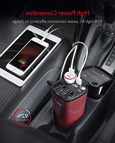 BESTEK Car Inverter with Outlets USB Adapter Lighter Socket