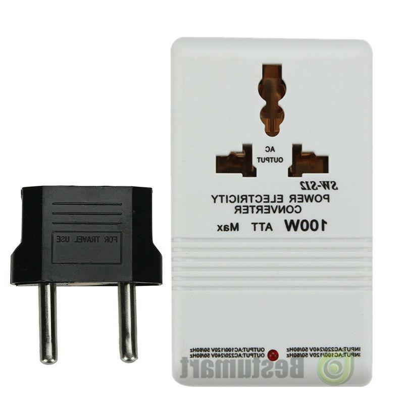 110V to 220V Step-Up & Down Voltage Converter 100W Watt Tran