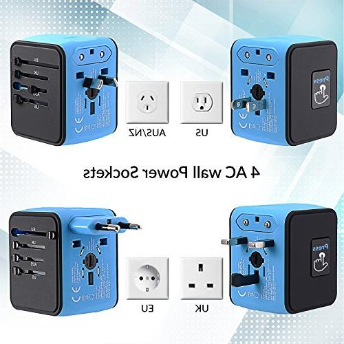 Unidapt Universal Adapter, 2,4A 4-USB Power Plug in One US, UK, AUS Asia
