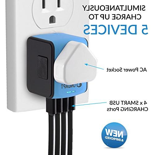 Unidapt Universal Travel Adapter, Fast 2,4A 4-USB Worldwide International Power Plug Adapter – All in One UK, Asia