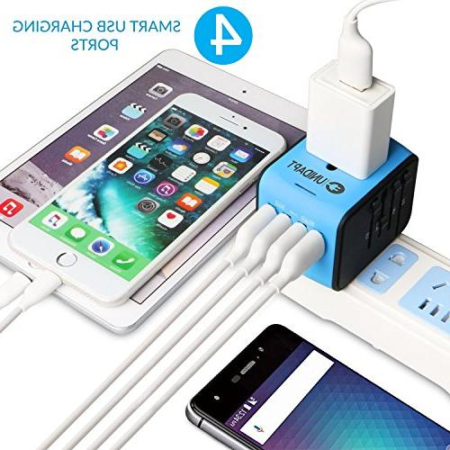 Unidapt Universal Travel Adapter, Adapter, Fast 2,4A 4-USB Power Charger, AC Wall Plug in One UK, Asia
