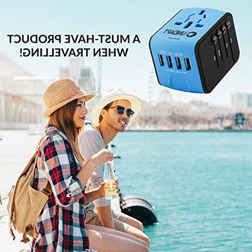 Unidapt Travel Power Adapter, European 2,4A Worldwide in One UK, Asia