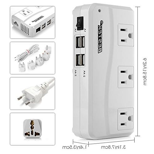 BESTEK Adapter, 220V to 110V Down Travel Voltage with 4-Port USB US/AU/EU/UK//India/South Africa Adapter,