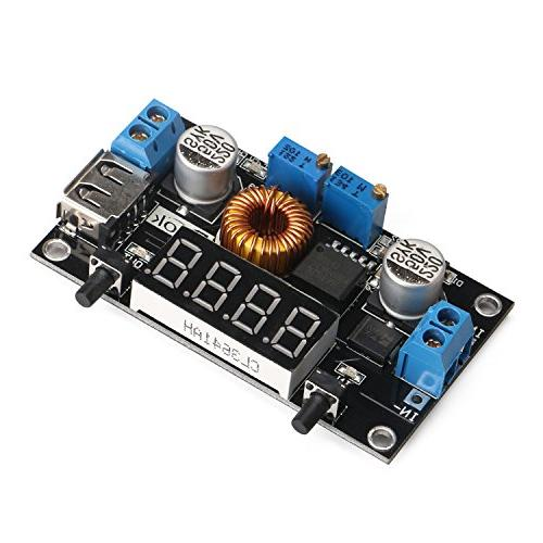 DROK® LM2596 Volt Regulator 3V 5-36V to 75W Step-down Driver Switch Digital LED Voltmeter USB