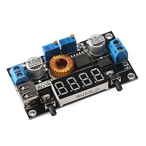 DROK® LM2596 Volt Regulator to 24V 12V 3V Converters 5-36V to 75W LED Driver Switch Digital LED Voltmeter Output