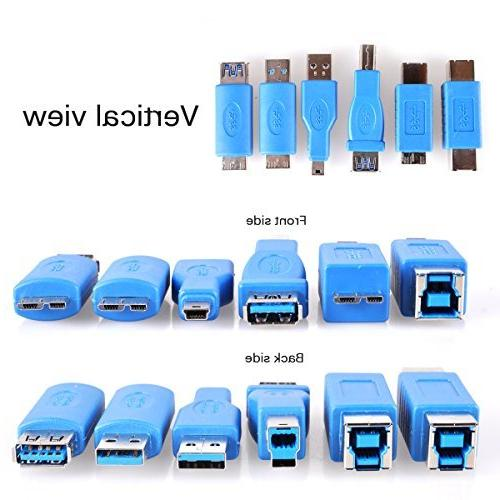 USB 3.0 UCEC Multiple Adapters, A B & MicroB Mini Interface, Use Computer Phone, Pack of 13