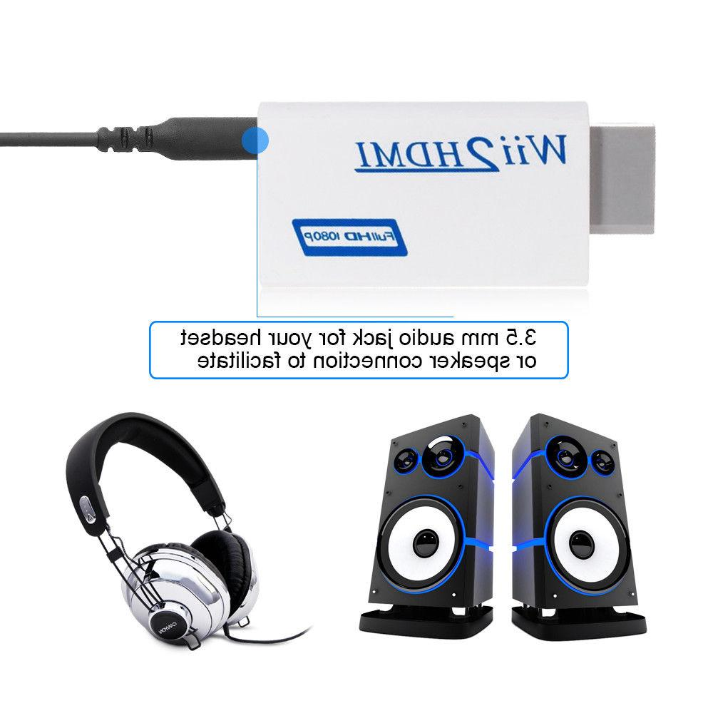 Portable Wii2HDMI Full HD Converter Audio Output Adapter TV