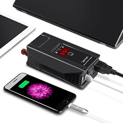 POTEK DC AC with Digital Display AC Outlets and USB Charging Laptop and Smartphones